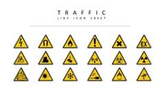 교통 표지판 라인 아이콘 2종세트