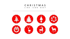 크리스마스 라인 아이콘 3종세트(3)