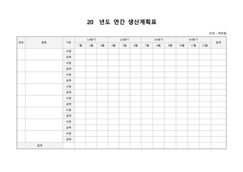 연간 생산계획표(분기별) - 섬네일 1page