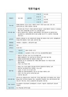 직무기술서(임상영양, 영양관리 분야)