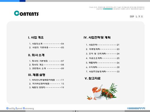 비타민나무 가공음료 투자사업계획서(투자자금 조달용) - 섬네일 2page