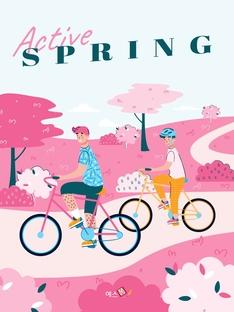 활기찬 봄 테마 Illustration Template