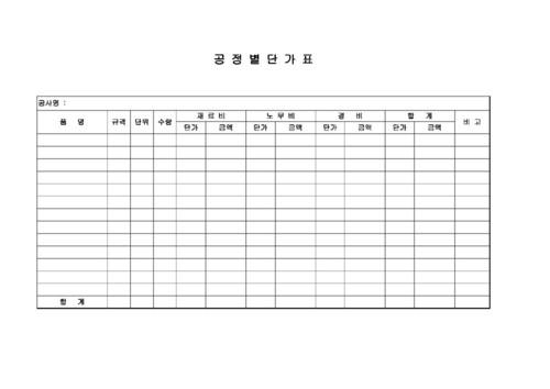 공정별단가표 - 섬네일 1page
