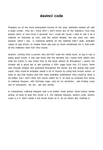 (영문) 영화감상문(davinci code) - 섬네일 1page