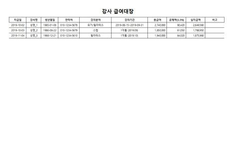 강사 급여대장(사업소득세) - 섬네일 3page