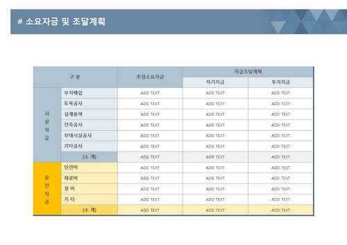 사업계획서 소요자금 및 자금조달계획(표준형) - 섬네일 1page