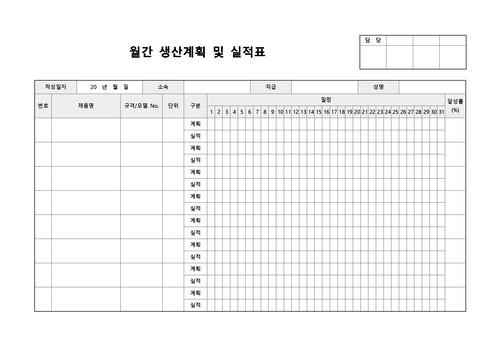 월간 생산계획 및 실적표(제품별) - 섬네일 1page
