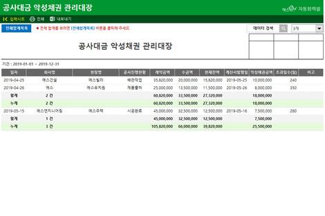 공사대금 악성채권 관리대장 - 섬네일 2page