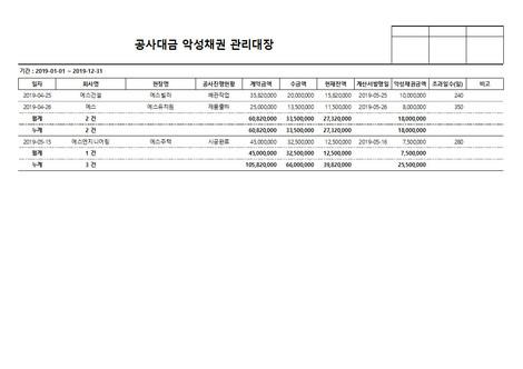 공사대금 악성채권 관리대장 - 섬네일 4page