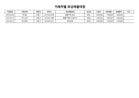 거래처별 외상매출대장(1) - 섬네일 3page