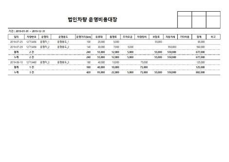 법인차량 운영비용대장 - 섬네일 4page