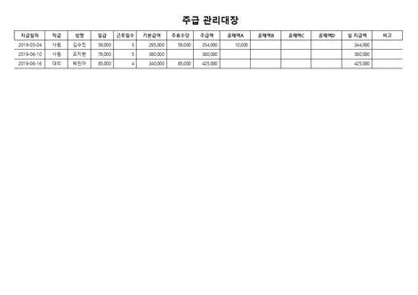 주급 관리대장(주휴수당, 공제내역) - 섬네일 3page