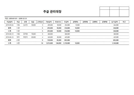 주급 관리대장(주휴수당, 공제내역) - 섬네일 4page