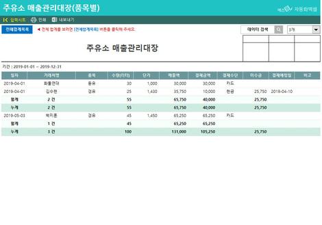 주유소 매출관리대장(품목별) - 섬네일 2page