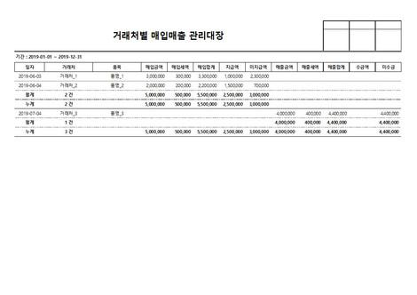 거래처별 매입매출 관리대장 - 섬네일 4page