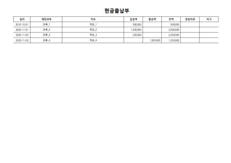현금출납부(계정과목 기준, 잔액누적) - 섬네일 3page
