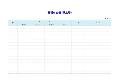 영업상황표(연도별) 양식 - 섬네일 1page