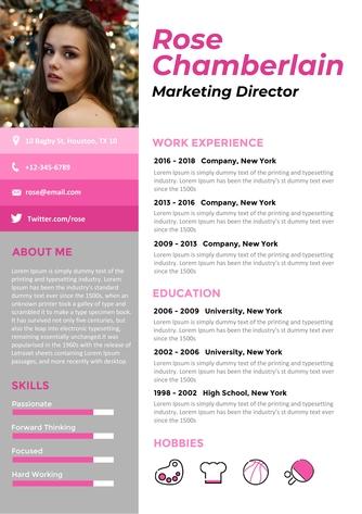 영문 이력서 (Marketing Director(Marketing) resume) - 섬네일 1page