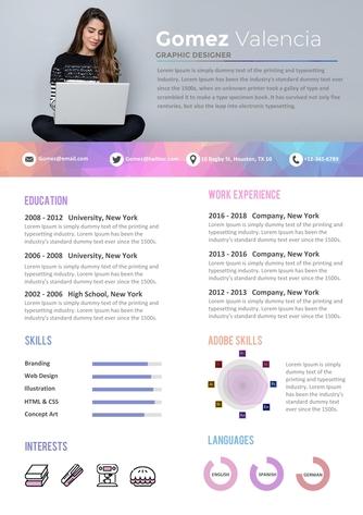 영문 이력서 (Graphic Designer(Designer) resume) - 섬네일 1page