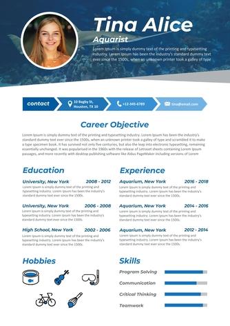 영문 이력서 (Aquarist(Leisure Industry) resume) - 섬네일 1page