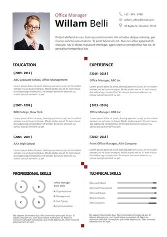 영문 이력서 (Office Manager resume) - 섬네일 1page