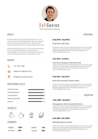 영문 이력서 (Hotel Front Desk Employee(Lodging Industry) resume) - 섬네일 1page