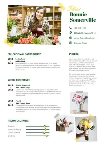 영문 이력서 (Florist(Artist) resume) - 섬네일 1page