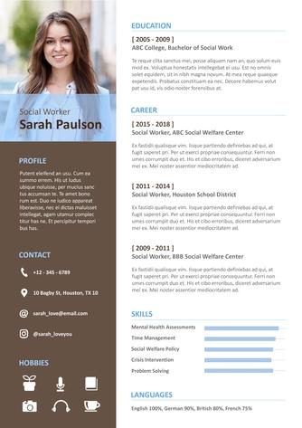 영문 이력서 (Social Worker(Welfare) resume) - 섬네일 1page