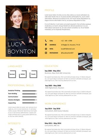 영문 이력서 (Consultant(Consulting) resume) - 섬네일 1page
