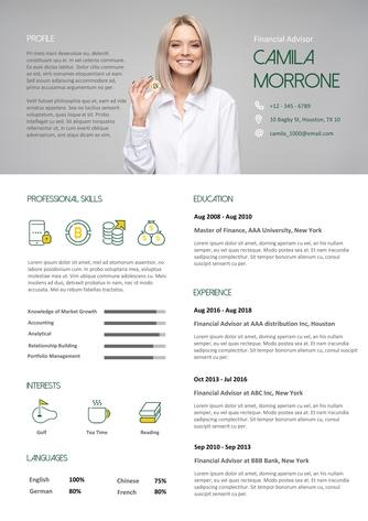 영문 이력서 (Financial Advisor(Finances) resume) - 섬네일 1page