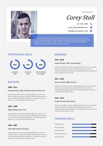 영문 이력서 (Data Scientist(IT) resume) - 섬네일 1page