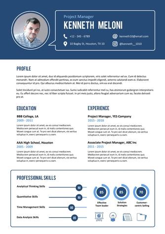 영문 이력서 (Project Manager resume) - 섬네일 1page