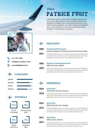영문 이력서 (Pilot(Aviation service) resume) - 섬네일 1page