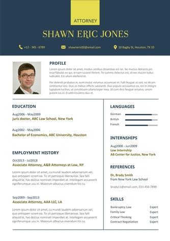 영문 이력서 (Attorney(Law) resume) - 섬네일 1page