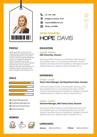 영문 이력서 (Retail Manager(sales) resume) - 섬네일 1page