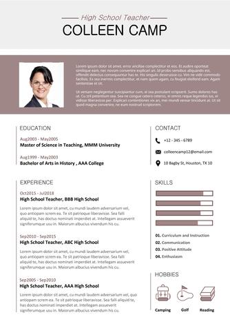 영문 이력서 (High School Teacher(Education) resume) - 섬네일 1page