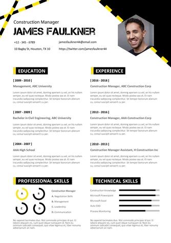 영문 이력서 (Construction Manager(Construct) resume) - 섬네일 1page