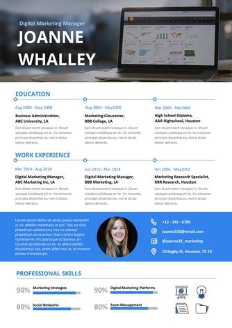 영문 이력서 (Digital Marketing Manager(Marketing) resume) - 섬네일 1page