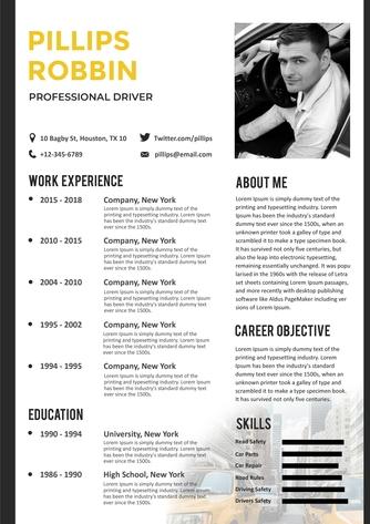 영문 이력서 (Professional Driver resume) - 섬네일 1page