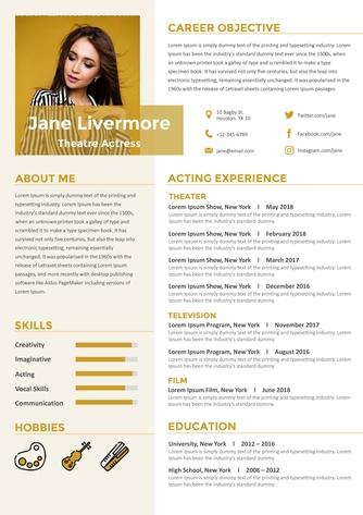 영문 이력서 (Theatre Actress(Entertainment) resume) - 섬네일 1page
