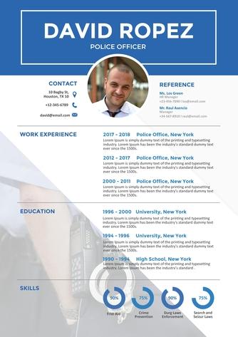 영문 이력서 (Police Officer(Public Officer) resume) - 섬네일 1page