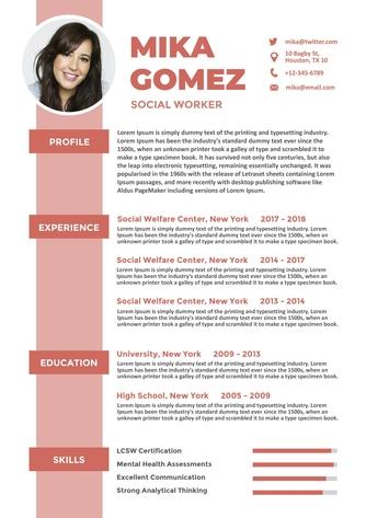 영문 이력서 (Social Worker(Social Welfare) resume) - 섬네일 1page