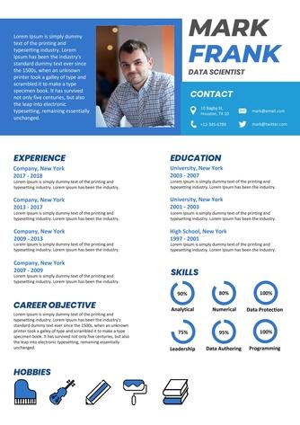 영문 이력서 (Data Scientist resume) - 섬네일 1page