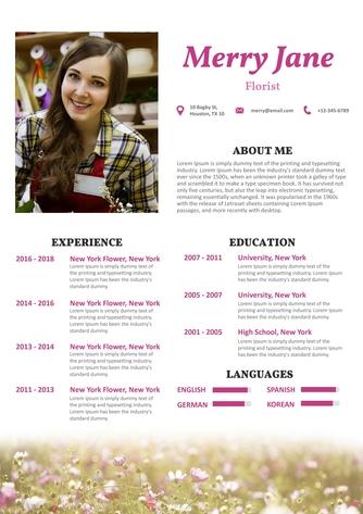 영문 이력서 (Florist(Art) resume) - 섬네일 1page