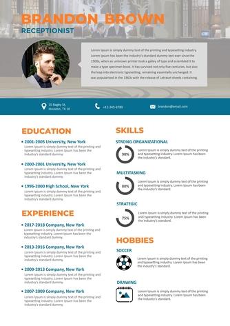 영문 이력서 (Receptionist(Reception Service) resume) - 섬네일 1page