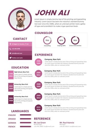 영문 이력서 (Counselor resume) - 섬네일 1page