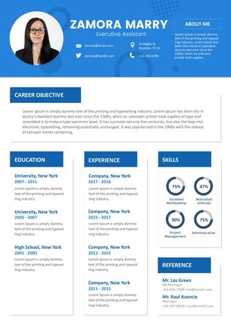 영문 이력서 (Executive Assistant resume) - 섬네일 1page