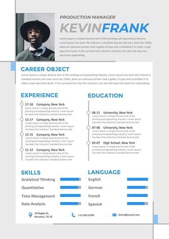 영문 이력서 (Production Manager(Manufacturing) resume) - 섬네일 1page