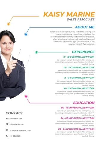 영문 이력서 (Sales Associate(Sales) resume) - 섬네일 1page