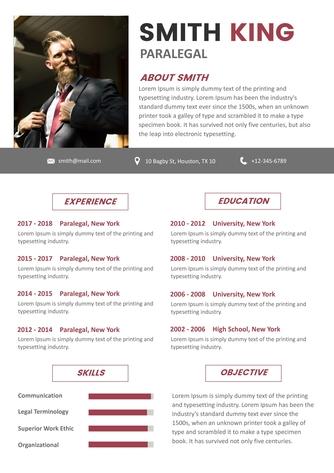 영문 이력서 (Paralegal resume) - 섬네일 1page